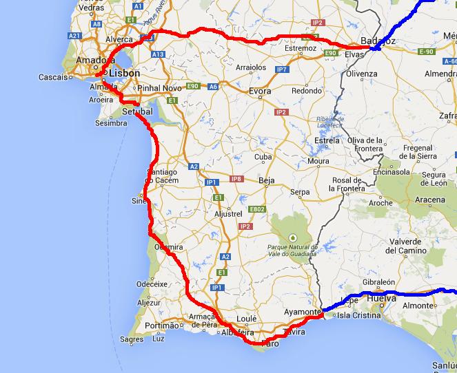 Portugal Free Life By Bike - Portugal map west coast
